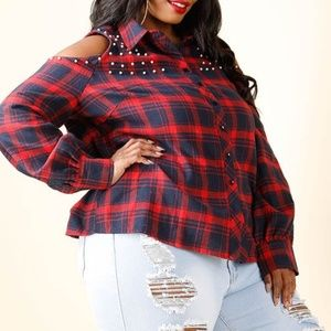 07044f87660 Tops - 1x NEW PLUS SIZE COLD SHOULDER PEARL PLAID TOP